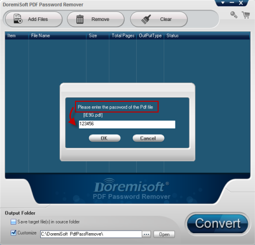 Doremisoft PDF Password Remover Screenshot