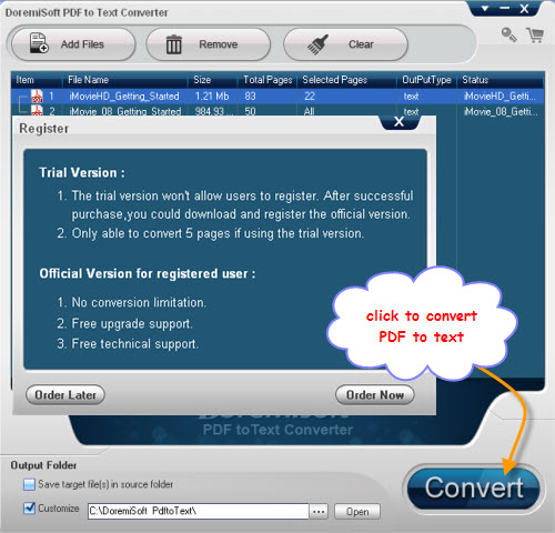 Doremisoft PDF to Text Converter Screenshot