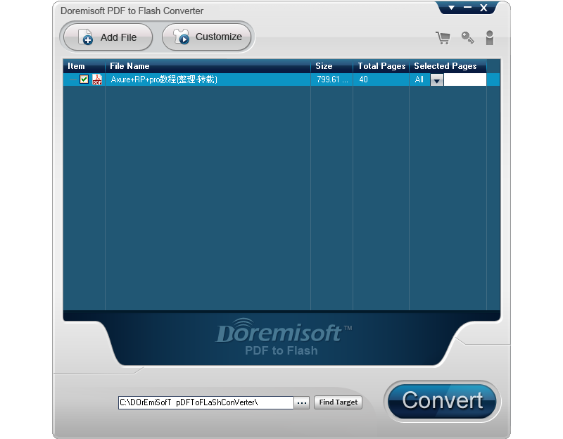 Doremisoft PDF to Flash Converter Screen shot