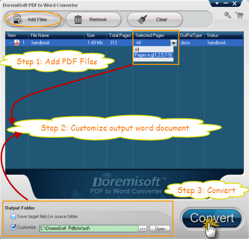 Doremisoft PDF to Word Converter Screenshot