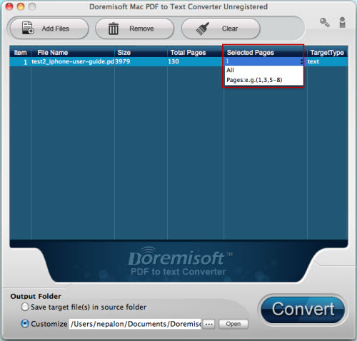 Doremisoft Mac PDF to Text Converter Screenshot
